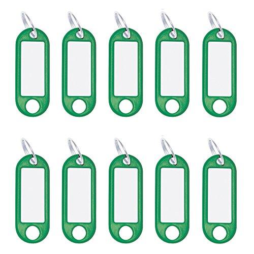 Wedo 262101804 Schlüsselanhänger Kunststoff (mit Ring, auswechselbare Etiketten) 10 Stück, grün