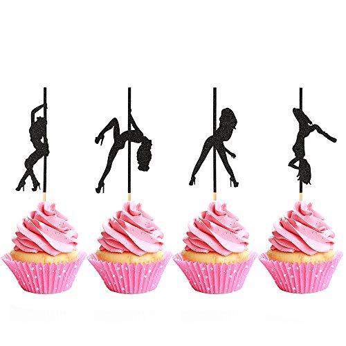 Pole Dancing Cupcake Topper, Pole Dancers Cake Picks for Bachelorette Party Birthday Decorations (24 Pcs)