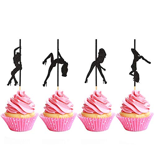 Pole Dancing Cupcake Topper, Pole Dancers Cake Picks for Bachelorette Party Birthday Decorations (24 Pcs)