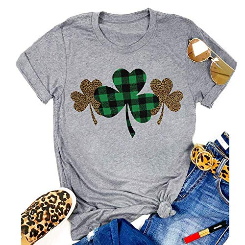 St. Patrick's Day Shirt Women Funny Buffalo Plaid Leopard Shamrock Printed Clover T-Shirt Graphic Tee (Grey, S)