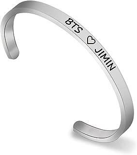 BTS Cuff Bracelet BTS Love Yourself Army Bangtan Boys Bracelet BTS SUGA JIN Jimin V J-Hope JK RM Cuff Bracelet for BTS Fans