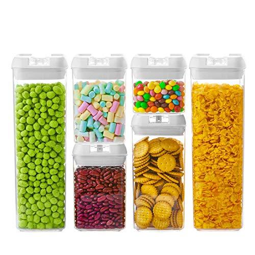NUMYTON Stapelbare Vorratsdose Set 6 Stück, BPA frei & spülmaschinengeeignet, Frischhaltedosen in Allen Größen mit Deckel Lagerbehälter für Getreide Nüsse Trockenvorräte, Rechteckig, Weiß/Transparent