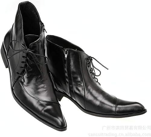 Qiusa botas con Cordones para Hombre botas de Confort Suaves y Antideslizantes duraderas y Suaves (Color   negro, tamaño   EU 39)
