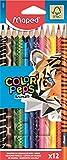 Maped - Crayons de Couleur Color'Peps Animals FSC - Crayon de Coloriage Triangulaire Ergonomique - Crayons Décorés Animaux - Pochette de 12 Crayons en Bois Certifiés FSC