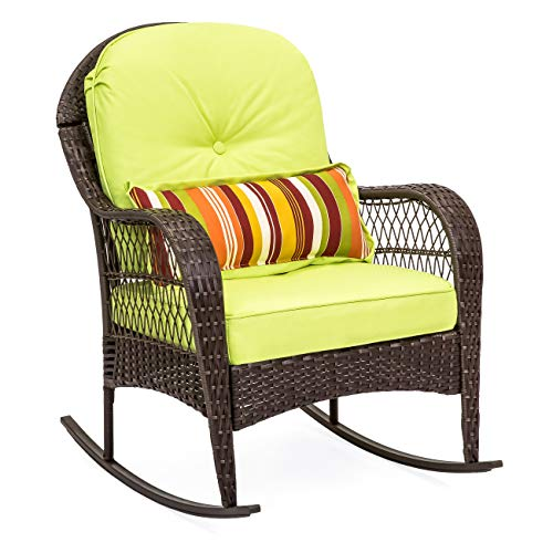 Best Choice Products Outdoor Wicker Patio Rocking Chair w/ Weather-Resistant Cushions and Steel Frame, Green