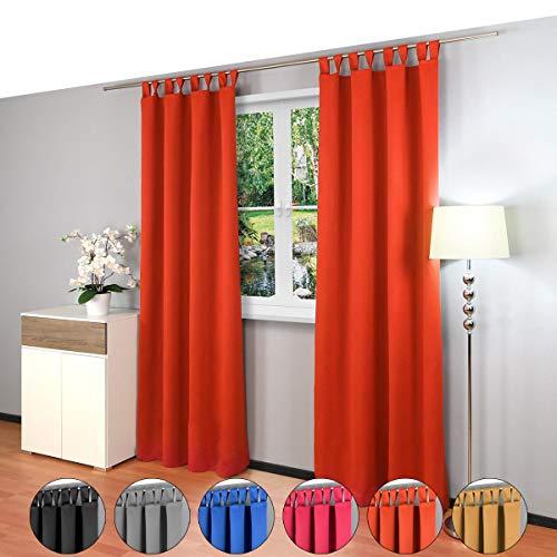 2 piezas Gräfenstayn® Alana - cortina térmica opaca monocromática que oscurece la cortina con bucles - Paquete Doble- 135 x 245 cm (ancho x alto) - muchos colores atractivos (Naranja)
