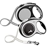 FLEXI New Comfort Retractable Dog Leash (Tape), 16 ft, Large, Grey/Black