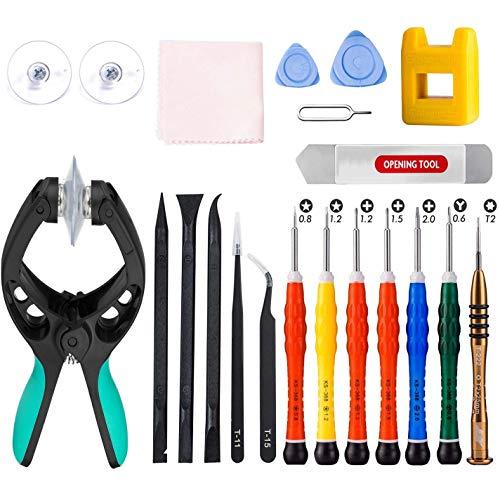 qiaoyosh 21 in 1 Set Destornilladores Herramientas, Kit Reparación Apertura con Abridor Pantalla LCD para iPhone, Samsung, Huawei, iPad, iPod, iMac, Tablet etc