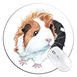 FannyD Guinea Pig Unique 8' Round Mouse Pad, Low Profile (1/8') with Anti Slip Rubber Backing & Cloth Surface Featuring Art by Fanny Dallaire. for PC, Laptop, Mac (Guinea Pig)