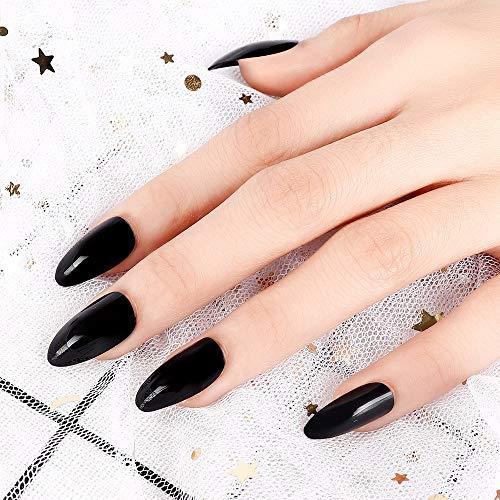 LIARTY 24 Stück Falsche Nägel Künstliche Nägel Schwarze Falsche Nägel Lange Falsche Nägelfür Frauen Mädchen mit Klebepads