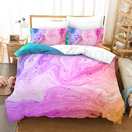 Purple Marble Duvet Cover Queen Set Marble Bedding Set Pink Purple Marble Texture Abstract Art Bedding Soft Microfiber Bedding Set 3 Pieces (90x90) 1 Duvet Cover 2 Pillowcases (Marble, Queen)