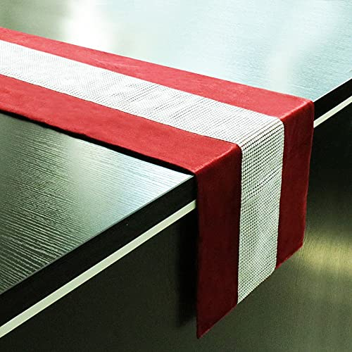 LIUJIU Camino de mesa con flecos de lino y algodón, diseño geométrico hecho a mano, para cocina, restaurante, hotel, 32 x 210 cm, hebilla de taladro central