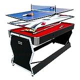 PUCK Cyclone 6-Foot 3-in-1 Multi Game Air Hockey/Billiard Table (Black)