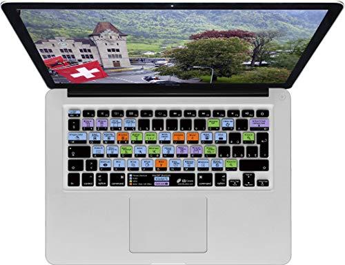 Swiss Keyboard Cover - Zwitsers toetsenbord Cover (Shortcut-afbeeldingen - ongestoorde tip-kwaliteit en -snelheid - zacht en comfortabel om te typen) voor Macbook Air 13 en Pro 2008+, zwart