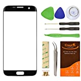 CrazyFire Samsung Galaxy S7 Edge Black Replacement Front Outer Lens Glass Screen Repair Kit with 1MM Adhesive Tape +Tools Kit+ 1 Pair Tweezers+1 Roll Micro Wire for G935V G935P G935F G935T G935A