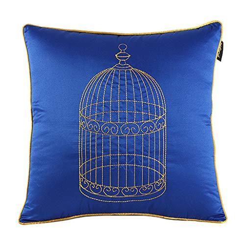 SAP- Cojín del hogar de algodón cómodo material bordado jaula de pájaro tela de impresión extraíble cojines gris cojines cojines cojines cojines cojines cojines cojín 50x50 suave 50*50cm azul