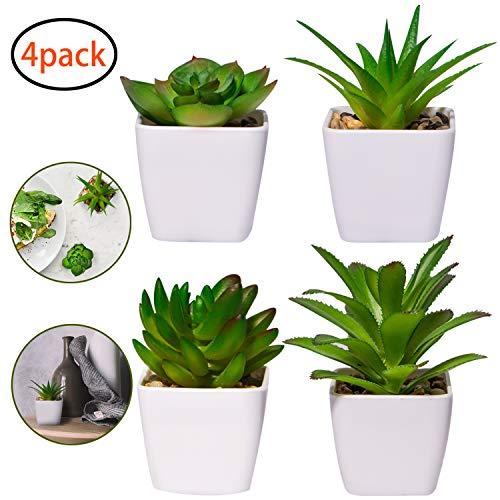 4 Stück Kunstpflanzen außenbereich Kunstpflanzen badezimmer Kunstpflanzen im Topf Künstliche Sukkulenten Tischdeko Haus Balkon Büro Deko MEHRWEG