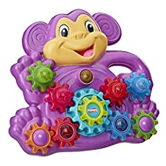 Monkey around with early engineering and building skills Gear up for fun with 9 interchangeable plastic gears Place the gears on monkey's tummy and press the center gear for lights and spinning motion Gears are designed for little hands and stackable...