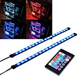 RGB LED Strip Computer Lighting via Magnet with 24 Key Remote Controller for Desktop Computer Case Mid Tower Full Tower (5050 SMD 2pcs 18leds 30cm, R Series)