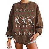 Tekaopuer Patrón de dibujos animados impresión sueltos sudaderas con capucha, suéter casual de manga larga, sudadera impresa de feliz Navidad de las señoras, café, XL