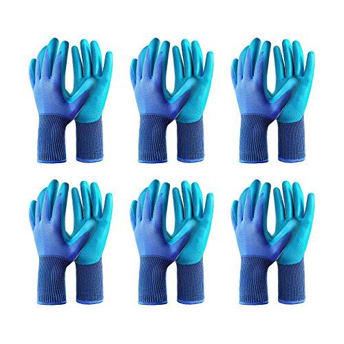 Gardening Gloves 6 Pairs Breathable Rubber Coated Texture Garden Glove, Sensitivity Work Glove for...