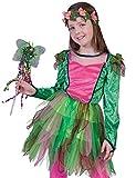 Das Kostümland Waldfee Nina - Disfraz infantil de hada con corona de flores, color rosa y verde, talla 116