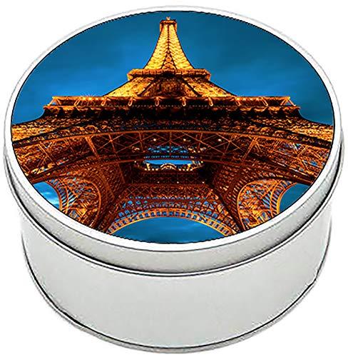 MasTazas Torre Eiffel Tower Paris Francia France A Boîte Métallique Ronde en Fer-Blanc Round Metal Tin Box