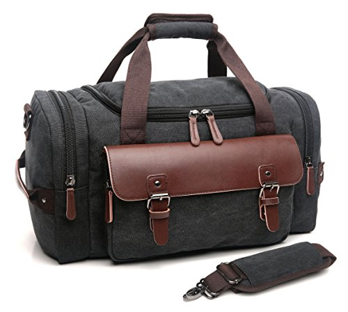 CrossLandy Canvas Gym Bag for Men Women Leather Overnight Bag Travel Carry on Duffel Sports Weekend...