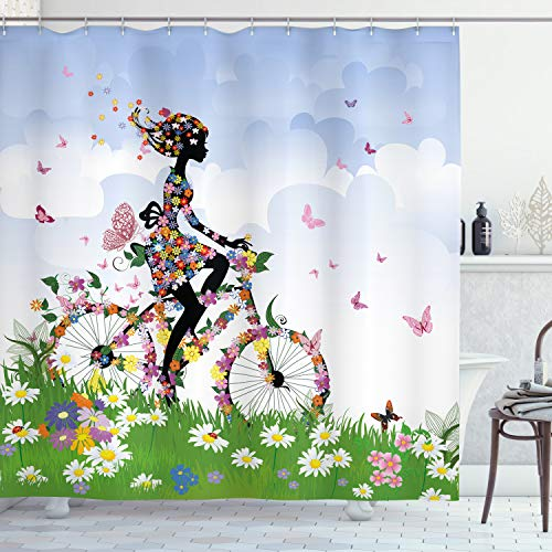 Ambesonne Outdoor Shower Curtain, Woman Riding Vintage Romantic Bike with Spring Time Flowers in Basket Nature Image, Cloth Fabric Bathroom Decor Set with Hooks, 70' Long, Green Blue
