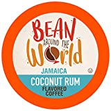BEAN AROUND THE WORLD Flavored Coffee Compatible With 2.0 Keurig K Cup Brewers, Coconut Rum, 40 Count