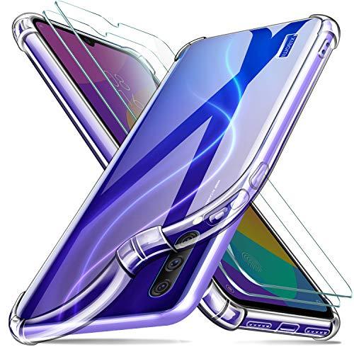 Leathlux Funda Xiaomi Mi 9 Lite + [2 Pack] Cristal Templado Protector de Pantalla, Ultra Fina Silicona Transparente TPU Carcasa Protector Airbag Anti-Choque Anti-arañazos Cover Xiaomi Mi 9 Lite