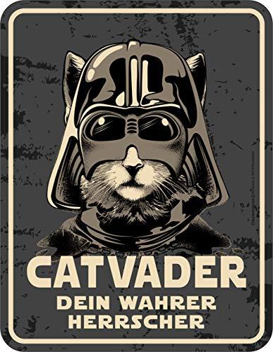 RAHMENLOS Deko Blechschild für den Katzen-Liebhaber: Catvader - Dein wahrer Herrscher