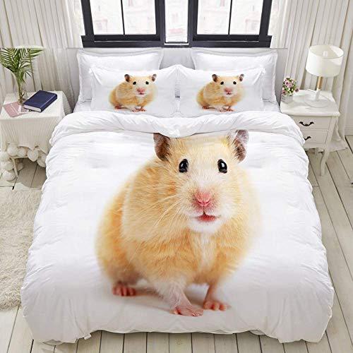 Funda nórdica, primer color beige jerbo hámster lindo un ratón mascota diseño de ratones divertidos mamíferos, juegos de cama decorativos de 3 piezas con 1 funda de edredón y 2 fundas de almoh