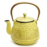 Tea Kettle, TOPTIER Japanese Cast Iron Teapot with Stainless Steel Infuser, Cast Iron Tea Kettle Stovetop Safe, Leaf Design Teapot Coated with Enameled Interior for 32 Ounce (950 ml), Yellow