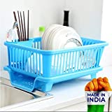 Sinex 3 in 1 Large Durable Sink Plastic Dish Rack Utensil Drainer Drying