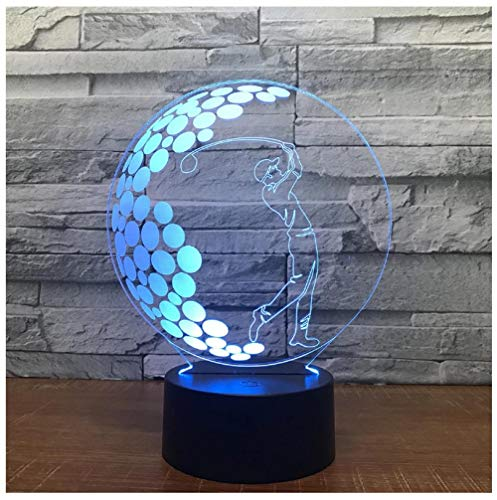 3D LED Night Light Lamp 3D Illusion Lamp for Kids Dimmable Brightness Light for Home Decoration and Gifts for Lovers, Parents, Friends Golf-Touch