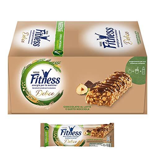 FITNESS Delice Cioccolato e Nocciola Barretta di Cereali Cioccolato al Latte Gusto Nocciola, 24 Pezzi
