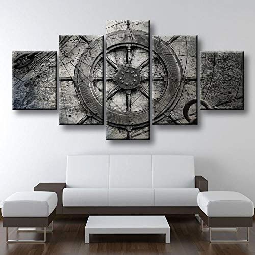 YUANSAHN canvas prints 5 stuks canvas muurkunst vintage nautische collage canvas schilderij ruimtedecoratie druk poster