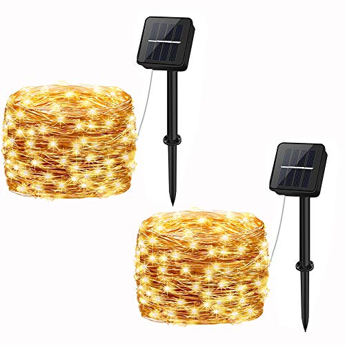 Solar Powered Fairy Lights Outdoor,Cshare 50 LEDs 2 Pack 8 Modes 33 FT Solar Garden String Lights,Waterproof for Yard,Pathway,Christmas Tree, Home, Wedding, Party Decorations(Warm White)