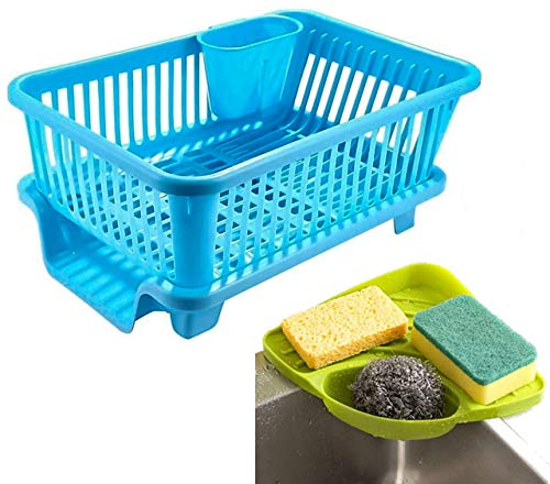 Angel Bear Popular Combo Kitchen Sink Organiser and 3 in 1 Kitchen Sink Dish Drainer Drying Rack Washing Basket with Tray for Utensils Tools Cutlery (Blue)