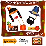 2020 FALL PARTY SUPPLIES PHOTO PROPS: Perfect for family and friends gathering celebration. Awesome for your Dinner. THANKSGIVING POPPERS: Heavy Card Stock Paper. Friendsgiving decor Attached to the Sticks 26 Props ready to use Frame included FUNNY T...
