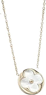 White Shell Rose Gold Round Clover Women's Necklace