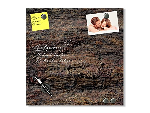 GRAZDesign Schreibtafel Steinstruktur, Magnetboard braun, Magnettafel Stein, Magnettafel Glas Granit / 50x50cm