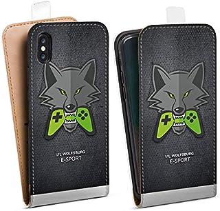 DeinDesign Tasche kompatibel mit Apple iPhone XS Flip Case Hülle VFL Wolfsburg Esport Merchandise Fanartikel