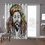 YUAZHOQI - Cortina divisora de habitación, rasta, retrato de dibujo de hombre rasta, ancho 52 x largo 96 pulgadas cortinas opacas para sótano (1 panel)