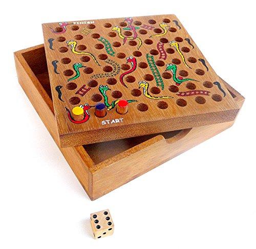 Logica Giochi art. SCALE E SERPENTI - Gioco da Tavolo in Legno per 2-4 Giocatori - Gioco dell'Oca - Scatola Richiudibile - Versione Tascabile
