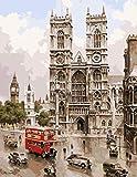 N/C Pintura al óleo DIY por número Kit Retro Notre Dame Dibujo con Pinceles 16x20 Pulgadas Navidad Decoración de Halloween Decoraciones Regalos