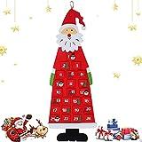 Calendario Dell'Avvento Babbo Natale, YHLZGOOD Avvento Calendario Avvento da Riempire XXL Natale Calendario Avvento con 24 Tasche da riempire, per Adulti e Bambini Rossa