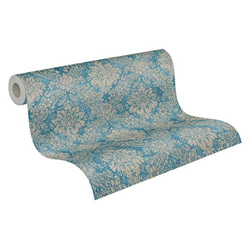 A.S. Création Vliestapete Secret Garden Tapete mit Ornamenten barock 10,05 m x 0,53 m blau braun metallic Made in Germany 336075 33607-5
