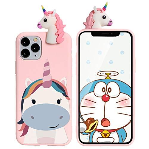 Yoedge Cover Apple iPhone 5 / 5s / SE con 3D Cartoon Doll, Rosa Custodia Silicone con Print Unicorno Pattern Drop Protection Antiurto Back Bumper Phone Case per Apple iPhone 5 / 5s / SE, Unicorno 04